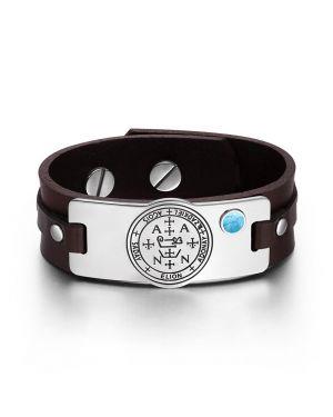 Archangel Zadkiel Sigil Magic Powers Amulet Simulated Turquoise Adjustable Brown Leather Bracelet