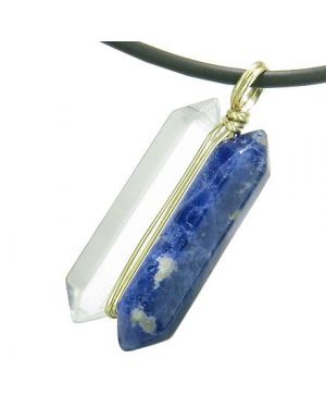 12K Gold Astrological Sagittarius Amulet Crystal Point Sodalite Quartz Zodiac Pendant Necklace