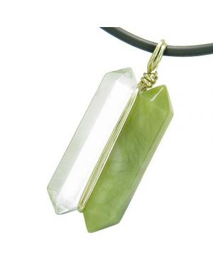 12K Gold Individual Amulet Double Wand Crystal Point Green Jade Quartz Gem Pendant Necklace