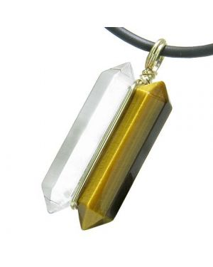 12K Gold Individual Amulet Double Wand Crystal Point Tiger Eye Quartz Gemstones Pendant Necklace