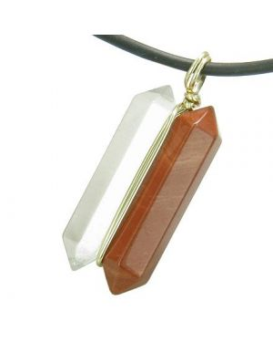 12K Gold Astrological Scorpio Amulet Double Crystal Point Red Jasper Quartz Zodiac Pendant Necklace