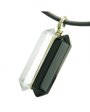 12K Gold Astrological Leo Amulet Double Crystal Point Black Onyx Quartz Zodiac Pendant Necklace