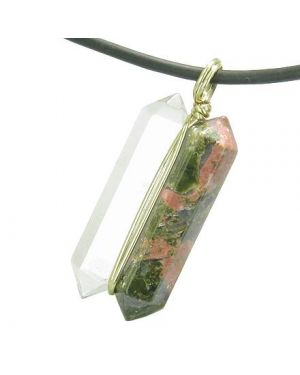 12K Gold Individual Amulet Double Wand Crystal Point Unakite Quartz Gemstones Pendant Necklace