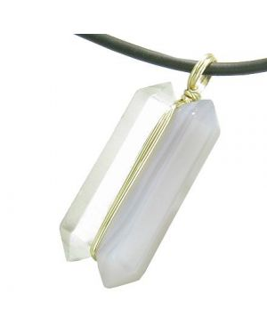 12K Gold Individual Amulet Double Wand Crystal Point Natural Agate Quartz Gems Pendant Necklace
