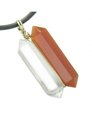 12K Gold Astrological Aries Amulet Double Crystal Point Carnelian Quartz Zodiac Pendant Necklace